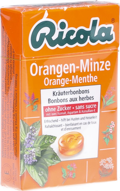 ricola orangen minze kr uterbonbons ohne zucker box 50g in der adler apotheke. Black Bedroom Furniture Sets. Home Design Ideas
