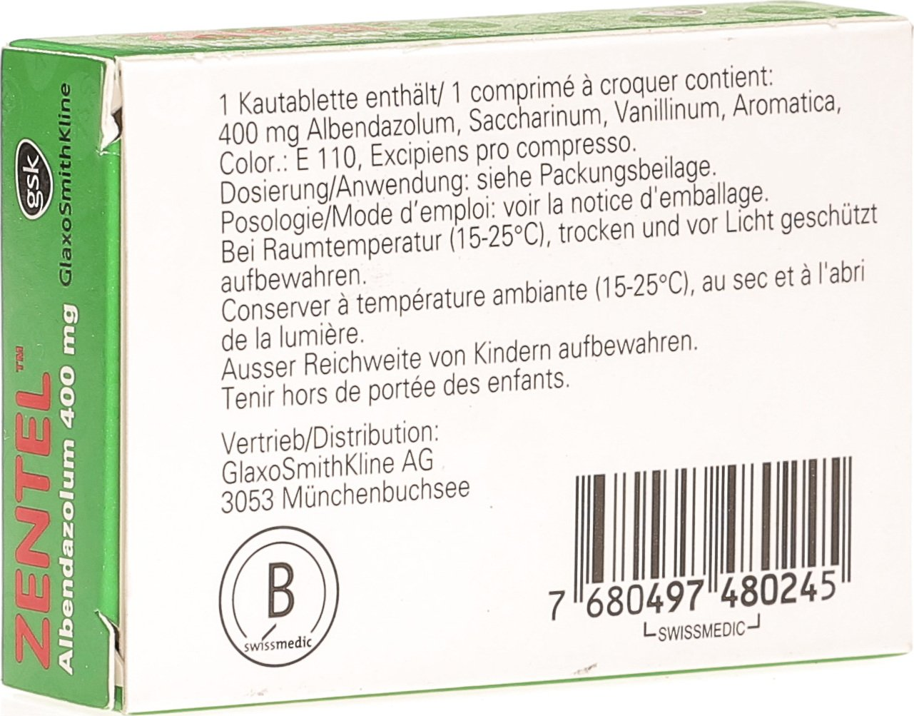 Zentel Kautabletten 400mg In Der Adler Apotheke