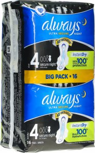 Immagine del prodotto Always Ultra Binde Secure Night M Wing Bigpack 16 pezzi