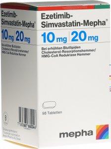 Immagine del prodotto Ezetimib-simvastatin Mepha Tabletten 10/20mg Dose 98 Stück