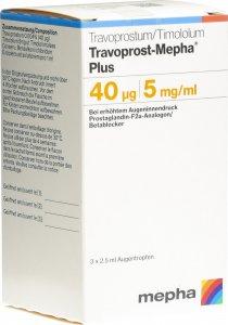 Immagine del prodotto Travoprost Mepha Plus 0.04mg/5mg 3 Flasche 2.5ml