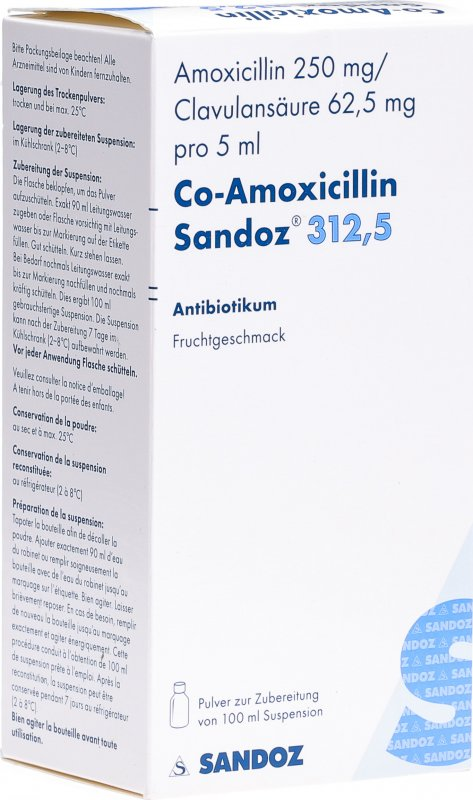 Co Amoxicillin Sandoz Pulver 312.5mg Suspension 100ml in ...