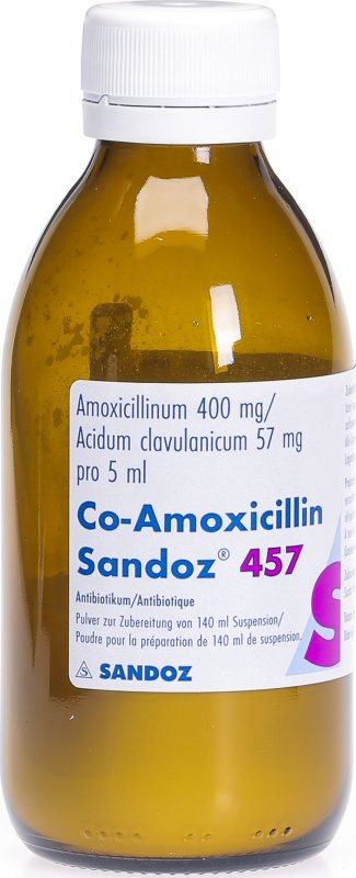Co Amoxicillin Sandoz Pulver 457mg Suspension 140ml in der ...